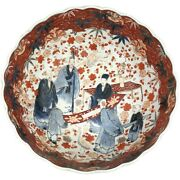12 Inch Polychrome Japanese Meiji Period Imari Bowl With Large Figures
