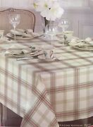 Lenox Holiday Nouveau Metalic Plaid Tablecloth And 11 Napkins Red White 140 New