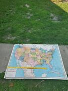 Vintage New World Series School Map Of The United States / Paper On Linen With B
