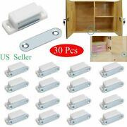 30pcs White Magnetic Door Catches Cupboard Wardrobe Cabinet Latch Catch Holder