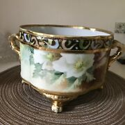 Nippon Moriage Ferner Bowl Footed/handles Flowers/deco Hand-painted 1900's