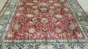 9and039 X 12and039 Hand-knotted Antique Cr1940 Turkish Hereke Tabrizisilk Muted Red Rug