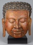Antique Khmer Style Se Asia Mounted Wood Enlightenment Buddha Statue - 70cm/28