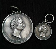Rare 1854 King Karl Sweden Johan Medal And Miniature Order In Silver -no Ribbon-