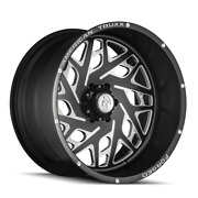 22x12 American Truxx Atf1909 Aries Forged Blk Milled Wheels 8x180 -44mm Set Of 4