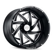 24x14 American Truxx Atf1910 Kronos Forged Blk Milled Wheel 8x6.5 -76mm Set Of 4