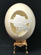 Hand-carved Ostrich Egg Semi Relief Rose Carved Into Eggshell