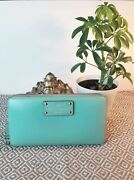 Kate Spade Neda Wellesley Mint Mojito Green Leather Zip Around Wallet