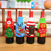 Christmas Beer Bottle Knitted Cover Snowflake Xmas Home Table Decoration Sh