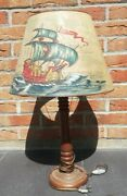 Antique Lamp Wooden Style 1930 Decoration Boat Caravelle H 24in