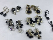 Lot Black And White Costume Fashion Jewlry Earrings Cluster Dangle French Hook