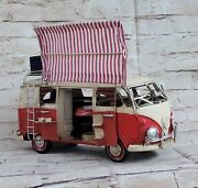 Large Vw 1960s Tin Model 1.18 Scale Camper Van Bright Red, With Awning Gift Deal