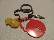 Lot /5 Auto Key Chain Metal Ring Cracker Jack Cereal Premium Toy Dumbo Lock Tags