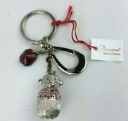 Baccarat Monkey Zoo Collection Tin Key Ring Chain Charm Ruby Crystal France New