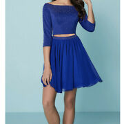 Blue Two Piece Short Homecoming Formal Prom Dress
