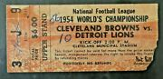 1954 Detroit Lions Cleveland Browns Nfl Championship Football Game Ticket Stub