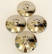 1949-50 Ford Hub Caps - Deluxe Style With Painted Letters- Pol S/s- Set Of 4