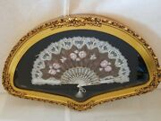 Antique Chinese Fan Hand Painted Bone Lace Floral Scene Fine Quality