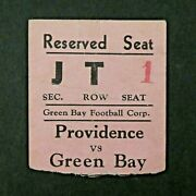 1931 Green Bay Packers Vs Providence Steam Rollers Football Game Ticket Stub