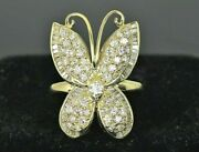 6750 18k Yellow Gold Pave Round Baguette Diamond Butterfly Cocktail Ring Band