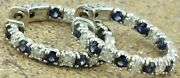 14k Solid White Gold Natural Diamond Blue Sapphire Hoop Earring 3.95ct Snap Lock