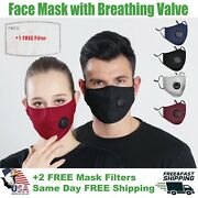 Homemade Cotton Face Mask With Filter Pocket And Air Valve Reusable Washable Us