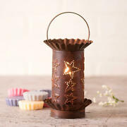 Classic Farmhouse Mini Wax Warmer With Rustic Punched Triple Star Tin Shade