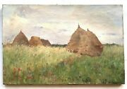19th Century Antique French Impressionism Oil Painting Haystack Eugene Deshayes