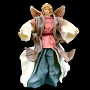 Christmas Angel Tree Topper / Fabric Mache / Aqua And Pink / Vintage 1950and039s
