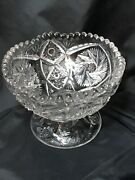 Vintage Marked Near Cut Clear Glass Footed Bowl Bonbon Candy Dish 4 1/4