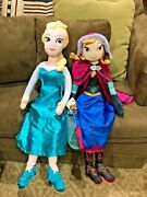 Disney Store Frozen Elsa Plush 30 Doll And Anna Plush 28 Doll With Tag