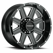 20x12 Raceline 940m Hostage Gloss Black And Milled Wheels 8x170 -44mm Set Of 4
