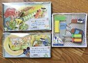 Lot Of 3 Wooden Farm, Train, Tools Toy Play Sets Fine Motor Skills Activities