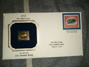 Commemorative 1918 Air Mail Issue 22k Gold Replica 24 Cent Inverted Jenny Stamp