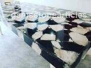 5and039x3and039 White And Black Agate Handmade Natural Stone Dining Table Top Decoration Art