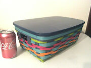 Longaberger Basket Protector And Lid Summer Weave Stow Away New Storage Multicolor