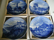 Furstenberg  4 Blue And White Christmas 1970 -1975 Boxed Wall Plates 9.1/2