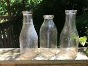 Three Vintage Collectible Quart Glass Milk Bottles Embossed Crowleyand039s Acme Lot