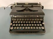 Antique 1936 Royal Deluxe Touch Control Portable Manual Typewriter Chrome 30's