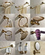 Antique Brass Wall Mounted Bathroom Accessory Set Toilet Roll Rack Towel Holder