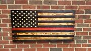 37 X 19 Hand-engraved Wooden 50 Star Thin Red Line Torched American Flag