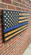 37 X 19 Hand-engraved Wooden 50 Star Thin Blue Line Torched American Flag