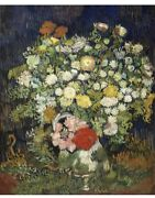 Van Gogh Famous Oil Paintings On Canvas, Bouquet Of Flowers In Vase, 12x16