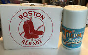 Vintage Boston Red Sox Vinyl Lunch Box And Thermosgreat Condition