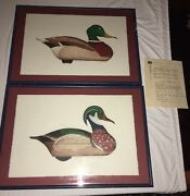 Mallard And Wood Duck Drake Decoy By Arthur Nevin 1965 Numbered Lithograph Etching
