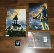 New Nintendo Legend Of Zelda Breath Of The Wild Promo Posters And Keychain In Bag