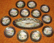 Vintage Set Of Limoges Fish Plates And Platter. 13 Pieces