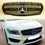 Fits Benz Cla-class W117 Cla250 Front Grille Shiny Black Chrome Star 2013-2016