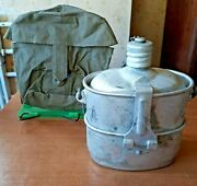 3 In1 Set Aluminum Flask Bowler Pan In A Cover Authentic Ussr Army New Camping