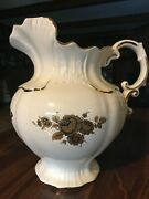 Ceramic Vintage Wash Stand Pitcher With 18k Fired Gold Trim And Fired Gold Decals